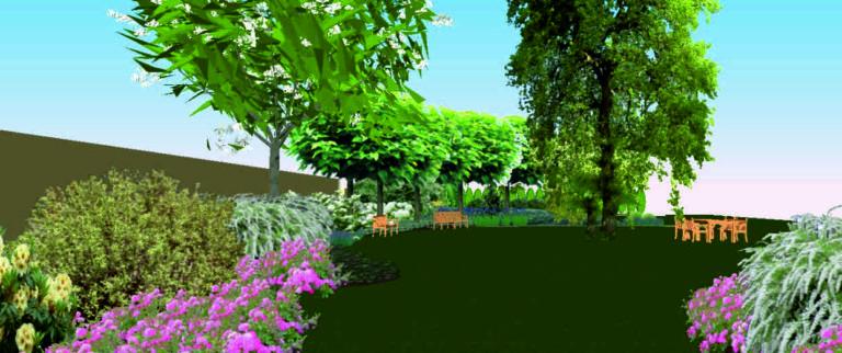 trawnik rabaty drzewa